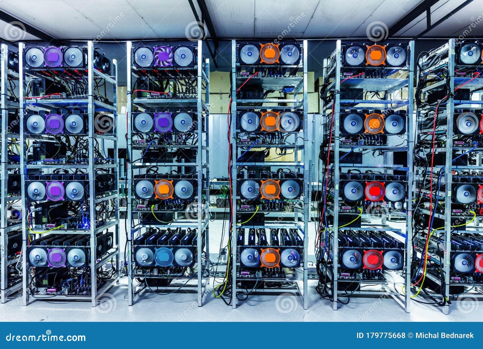 Bitcoin And Crypto Mining Farm. Big Data Center Editorial ...