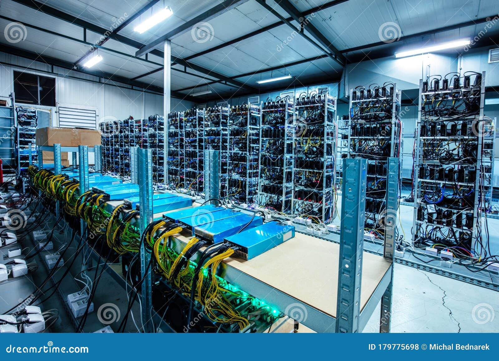 Bitcoin And Crypto Mining Farm. Big Data Center Stock Photo - Image of farm, bitcoin: 179775698