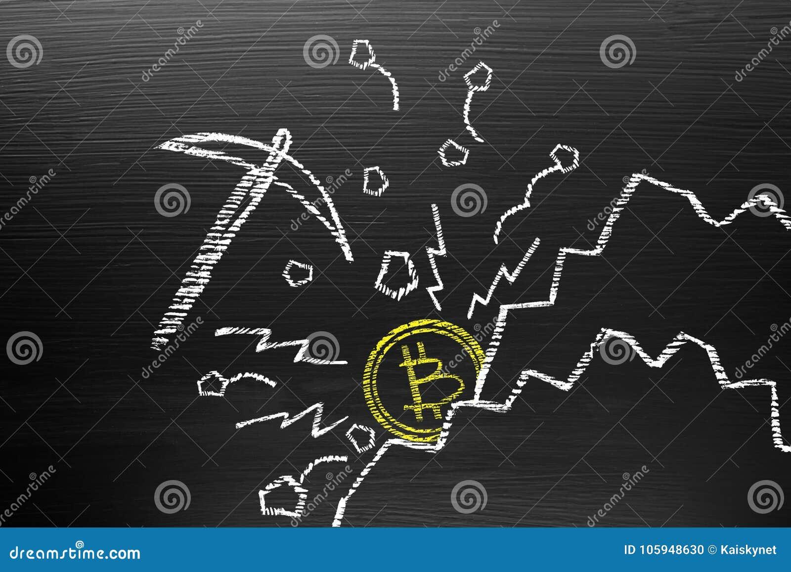 Bitcoin Cryptocurrency概念 在有白垩乱画的黑板上,