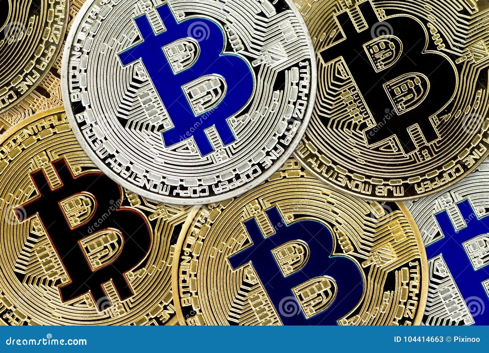 Bitcoin Cryptocurrency begrepp av faktiska mynt för faktisk valutabakgrund