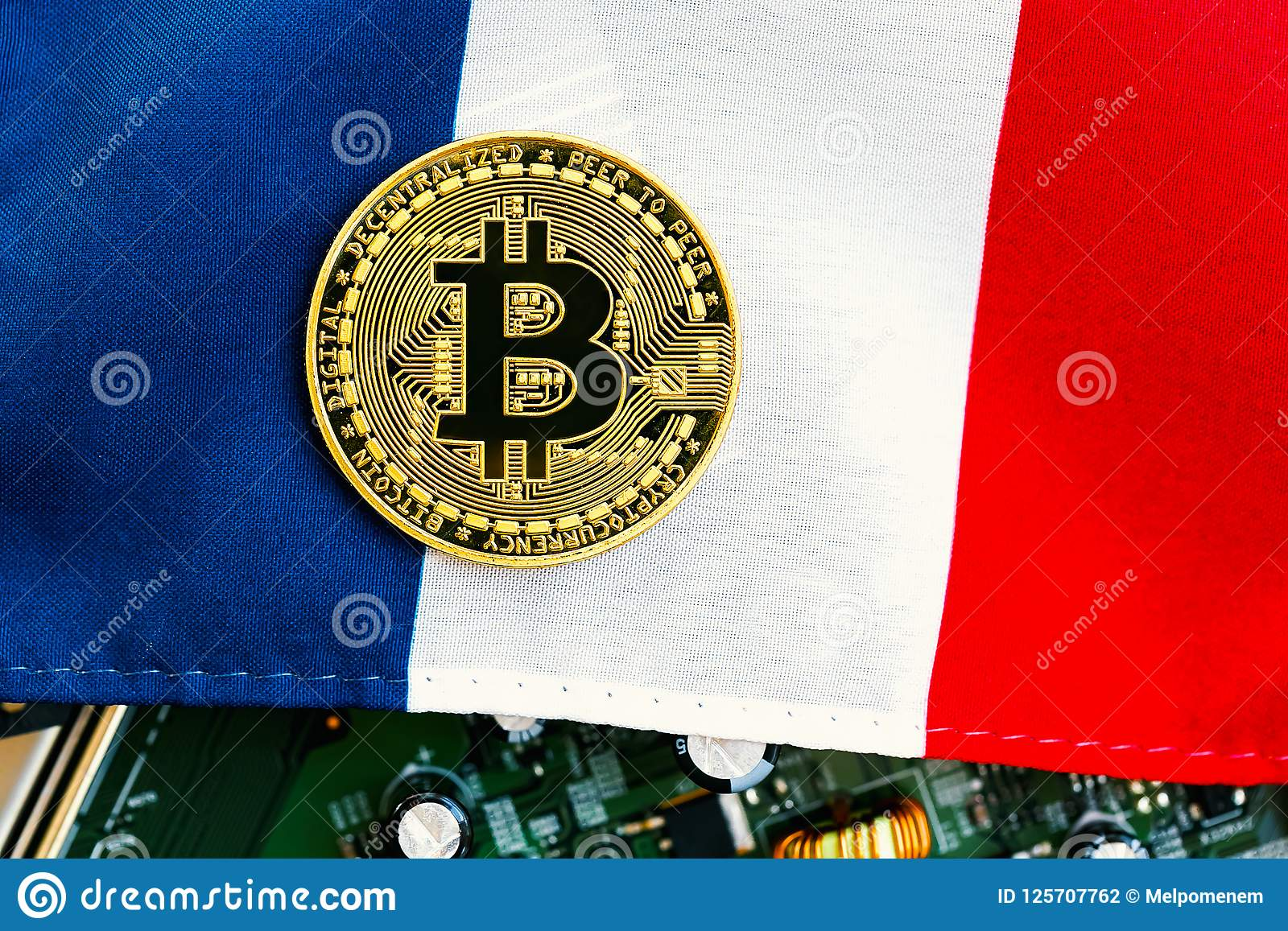Bitcoin Cryptocurrency Coin With Flag Stock Photo - Image of national, flag: 125707762