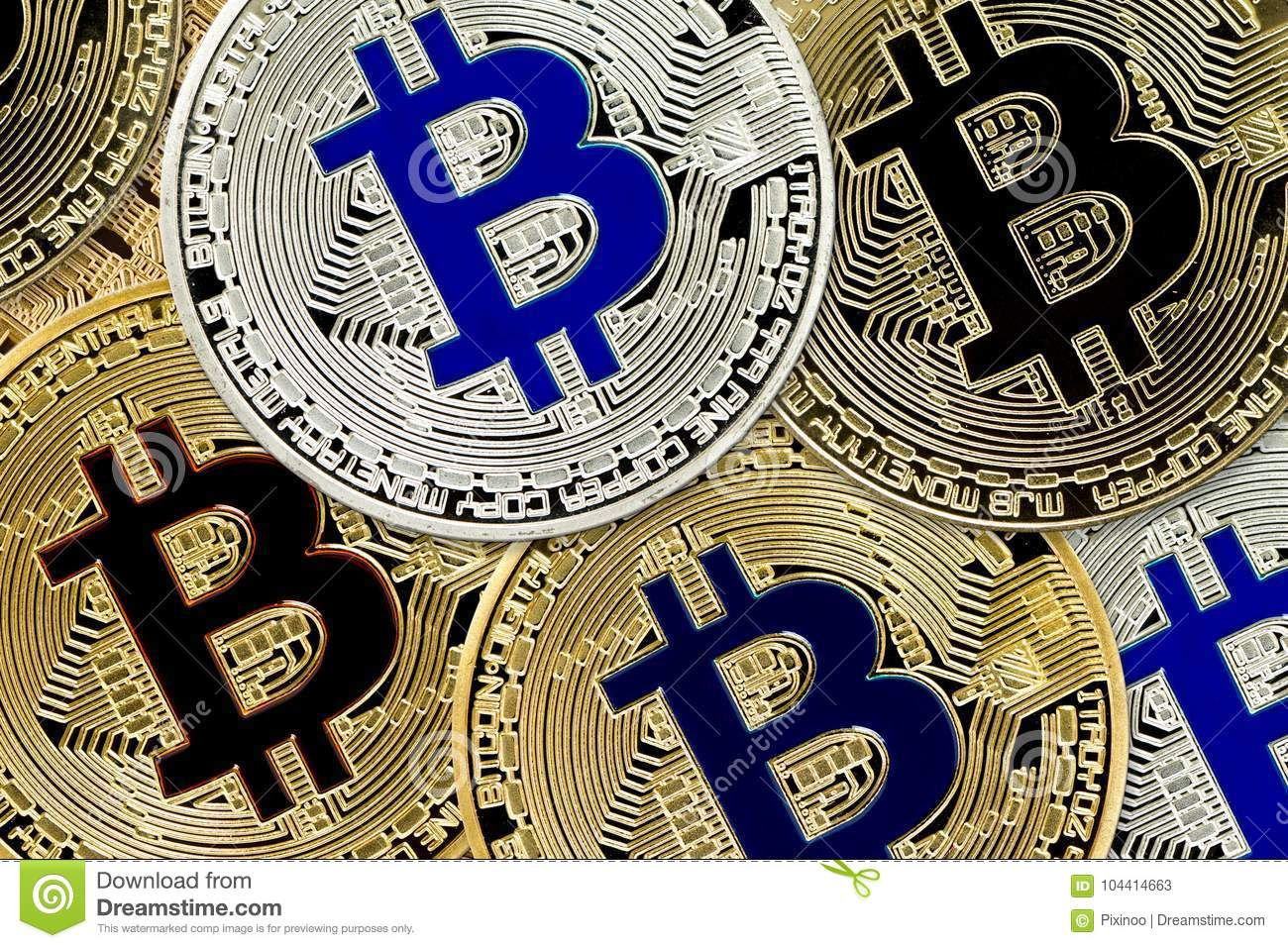 Bitcoin Cryptocurrency concept of virtual currency background virtual coins