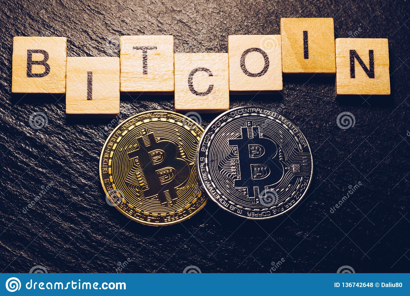 Bitcoin Cryptocurrency Crypto Currency. Silver Bitcoin And ...