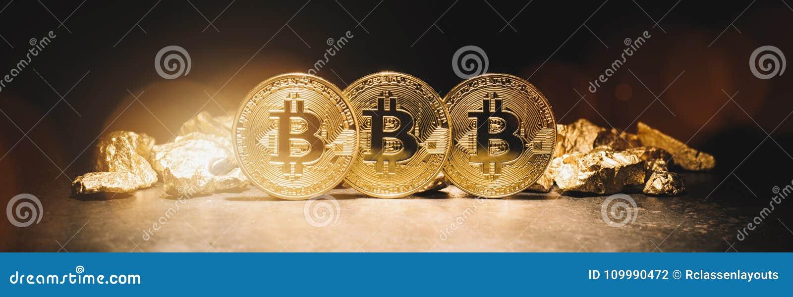 Bitcoin cryptocurrency i kopiec złociste bryłki - Biznesowy przeciw