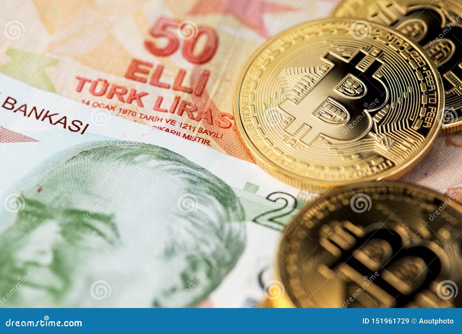 Bitcoin Cryptocurrency i Tureckiego lira waluta