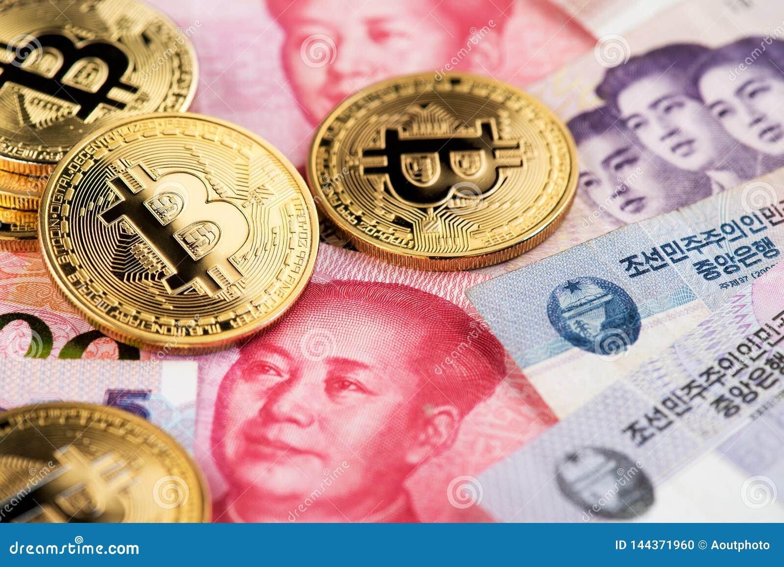 Bitcoin cryptocurrency na koreańczyków z korei północnej Wygrywających i Porcelanowych Juan Renminbi waluty banknotach zamyka w g