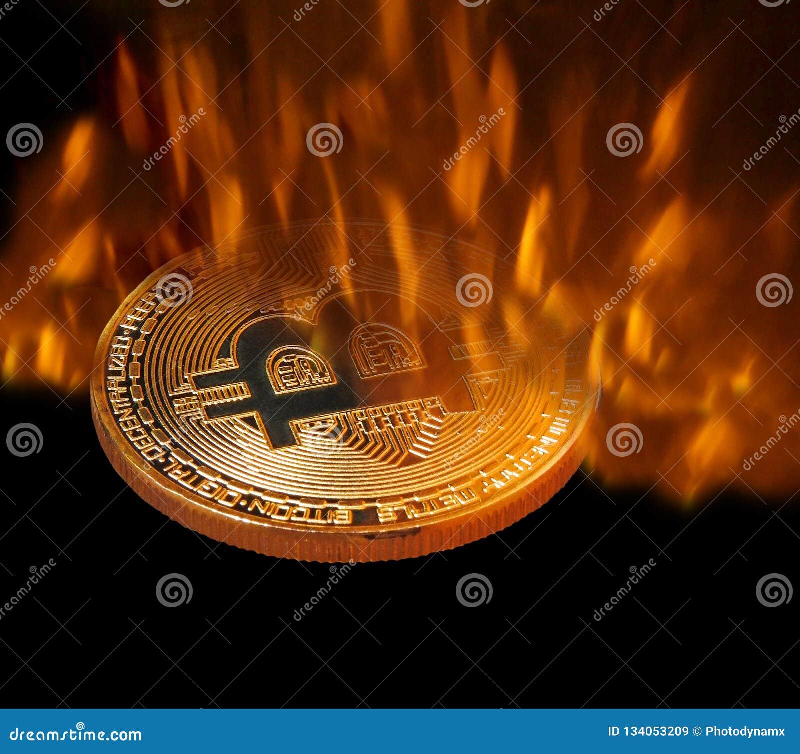 Bitcoin cryptocurrency som förfalskas i pannabrand