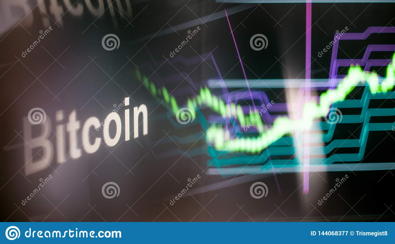 Bitcoin Cryptocurrency token. The behavior of the cryptocurrency exchanges, concept. Modern financial technologies.