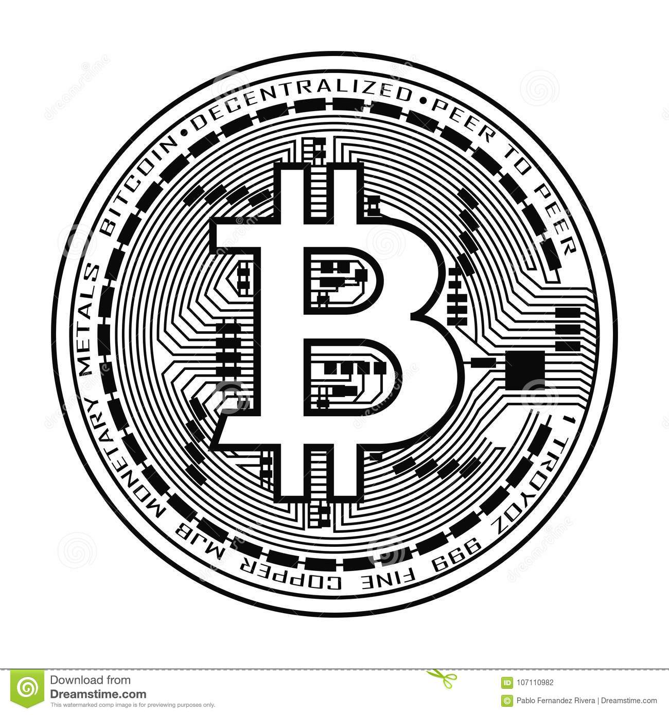 Bitcoin Currency In Black And White Stock Vector ...