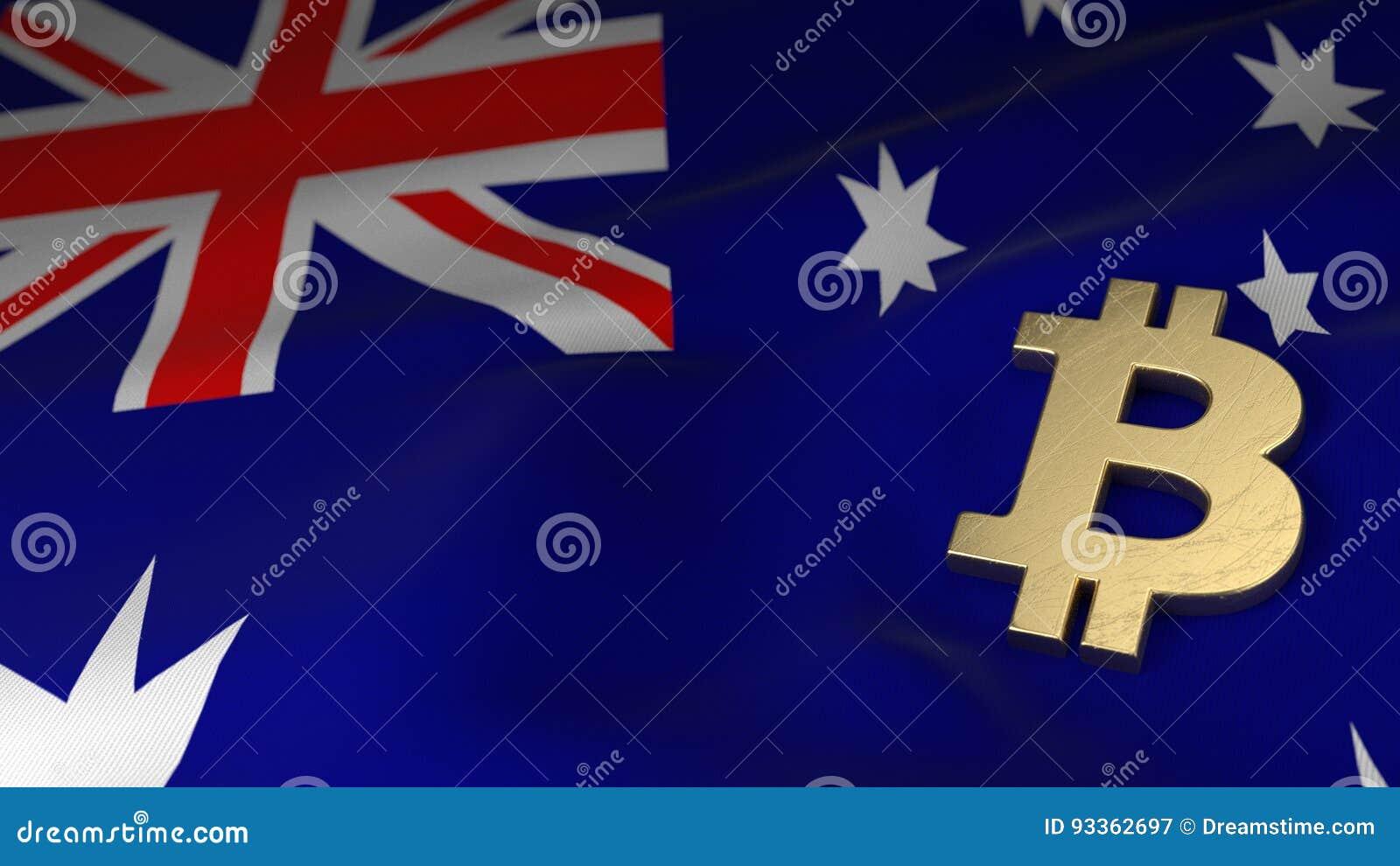 Bitcoin Currency Symbol On Flag Of Australia Stock Illustration