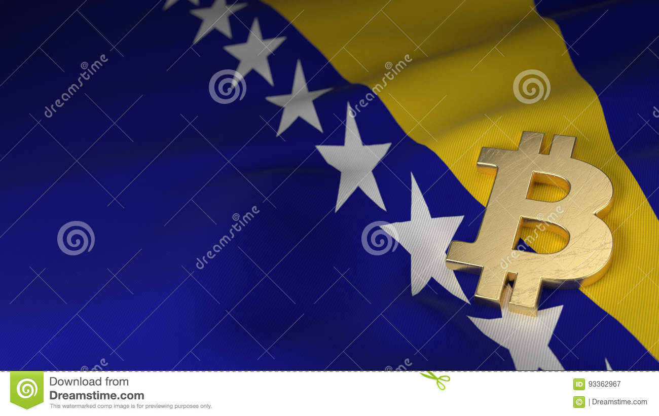 Bitcoin currency symbol on flag of bosnia and herzegovina stock bitcoin currency symbol on flag of bosnia and herzegovina buycottarizona