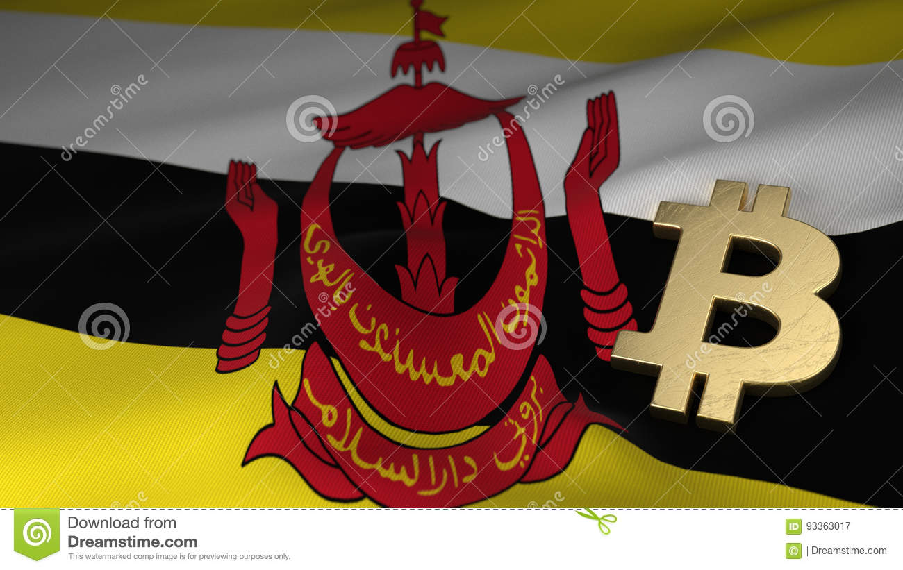 Bitcoin Currency Symbol On Flag Of Brunei Stock Illustration