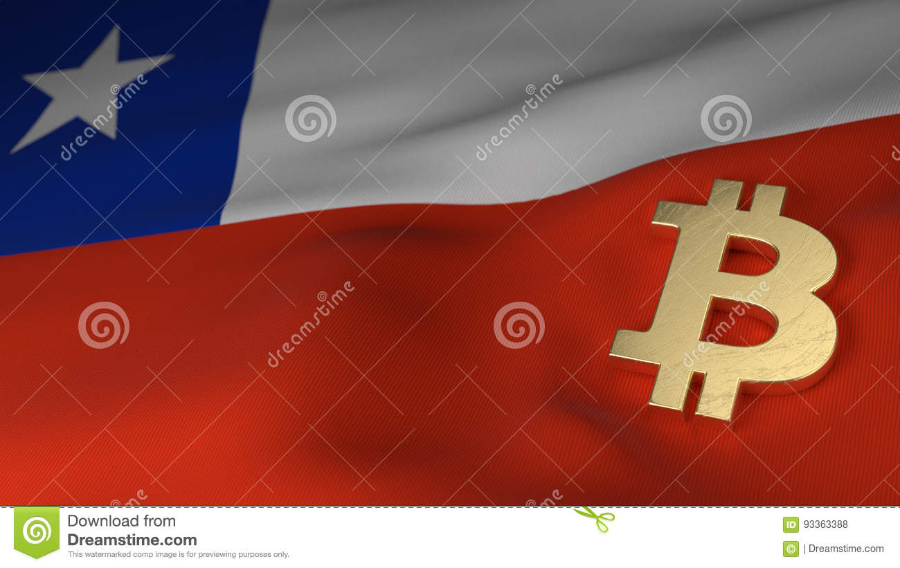 Bitcoin Currency Symbol On Flag Of Chile Stock Illustration