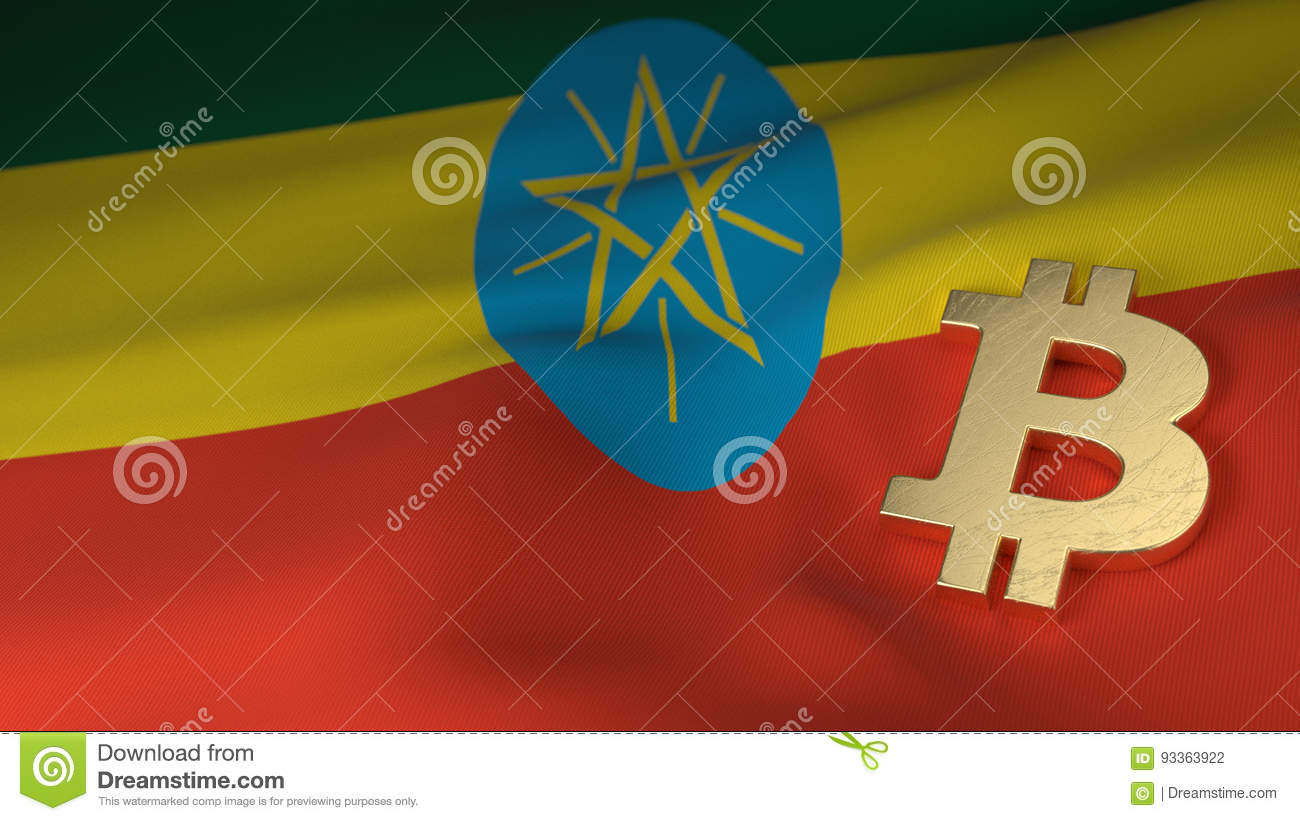 Bitcoin Currency Symbol On Flag Of Ethiopia Stock Illustration