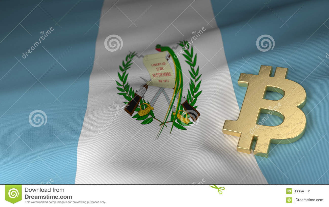 Bitcoin Currency Symbol On Flag Of Guatemala Stock Illustration
