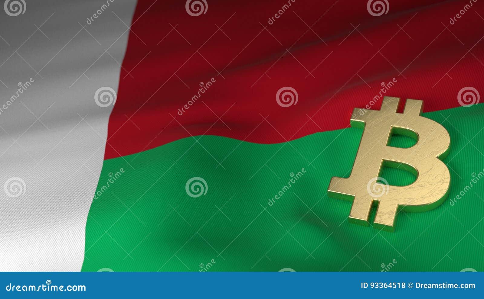 Bitcoin Currency Symbol On Flag Of Madagascar Stock Illustration
