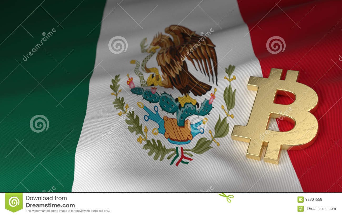Bitcoin Currency Symbol On Flag Of Mexico Stock Illustration