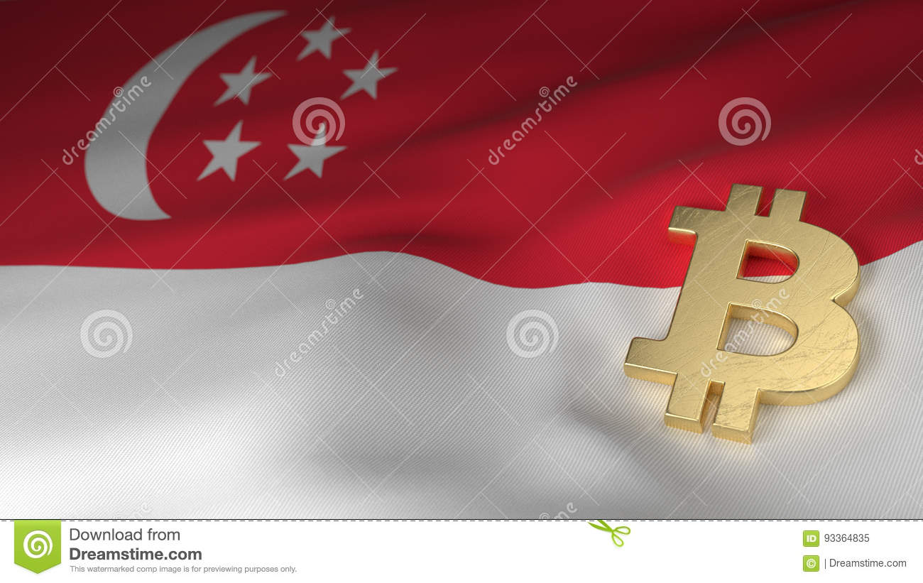 Bitcoin Currency Symbol On Flag Of Singapore Stock