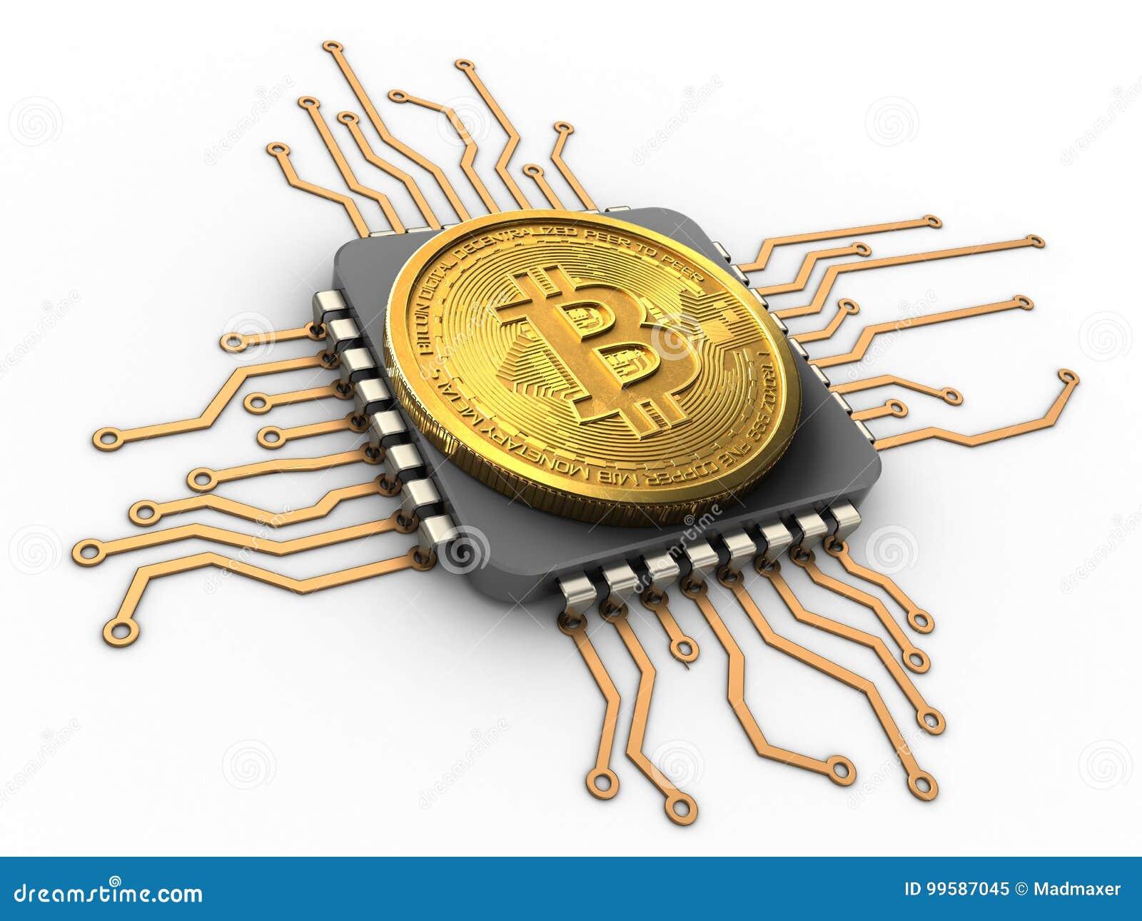 Bitcoin 3d avec l unité centrale de traitement