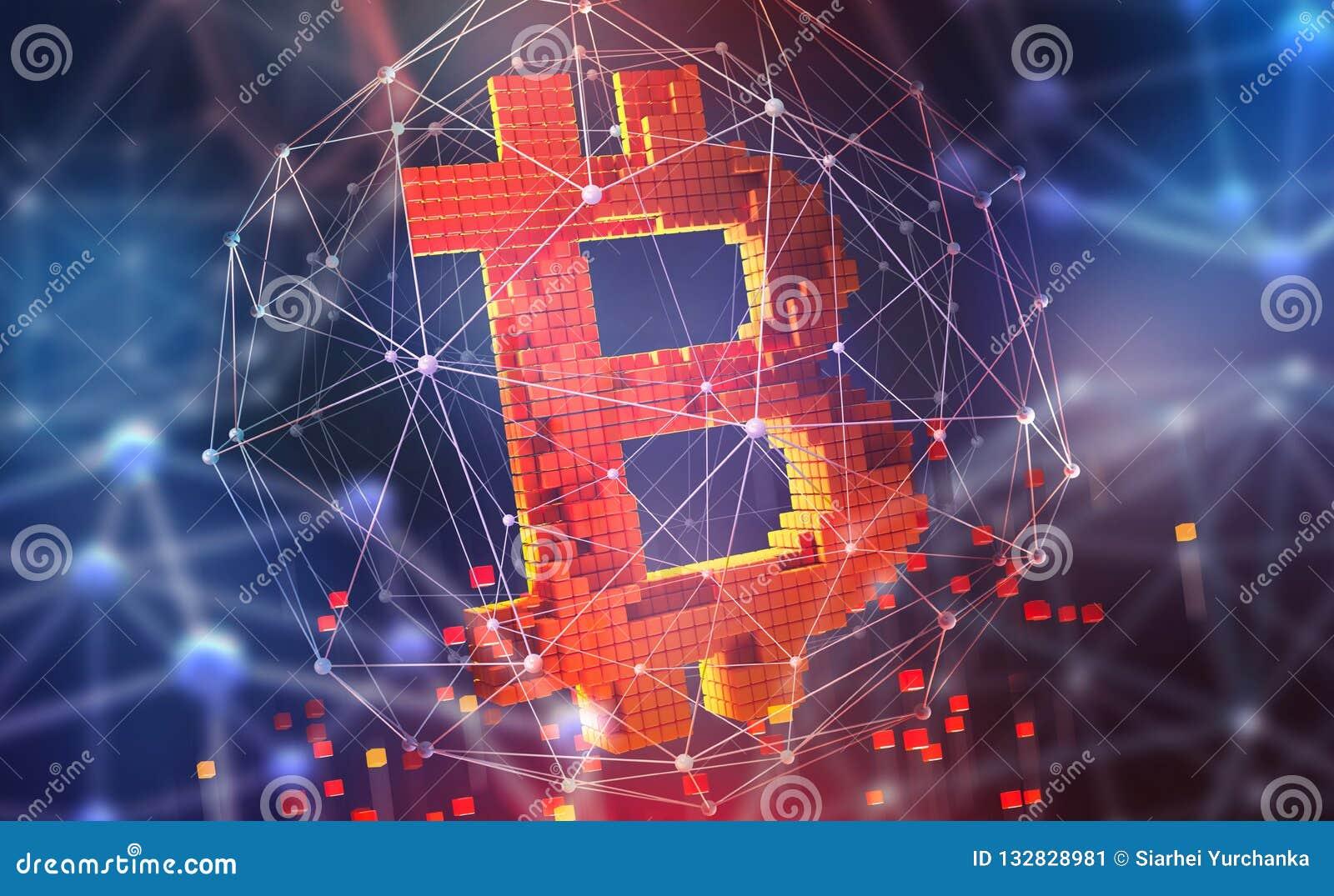 Bitcoin 3D ilustracja Futurystyczny pojęcie górniczy cryptocurrency Pieniądze w cyberprzestrzeni