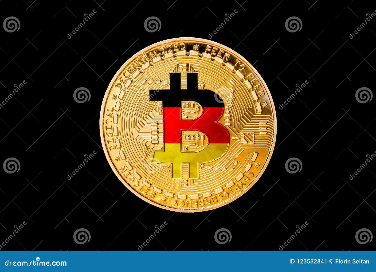 Bitcoin de oro con la bandera de Alemania en el centro/cripta de Alemania