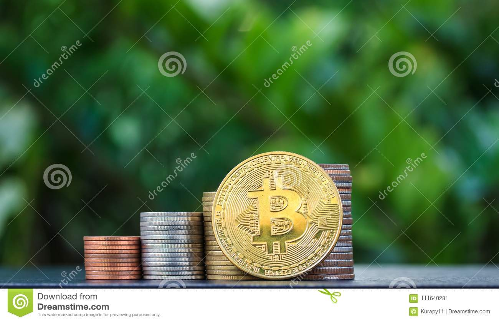 Bitcoin de pièce d or dans la perspective d un fond vert