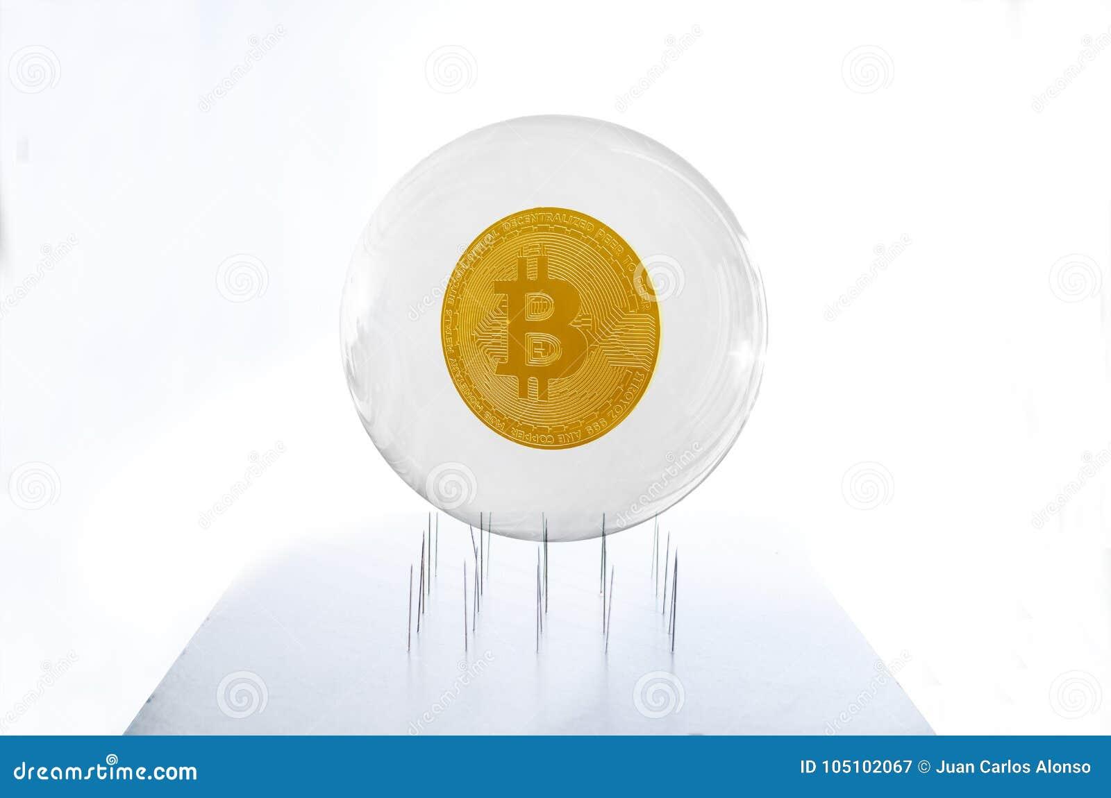 Bitcoin dentro un traboccare un letto degli aghi che simula il fragil