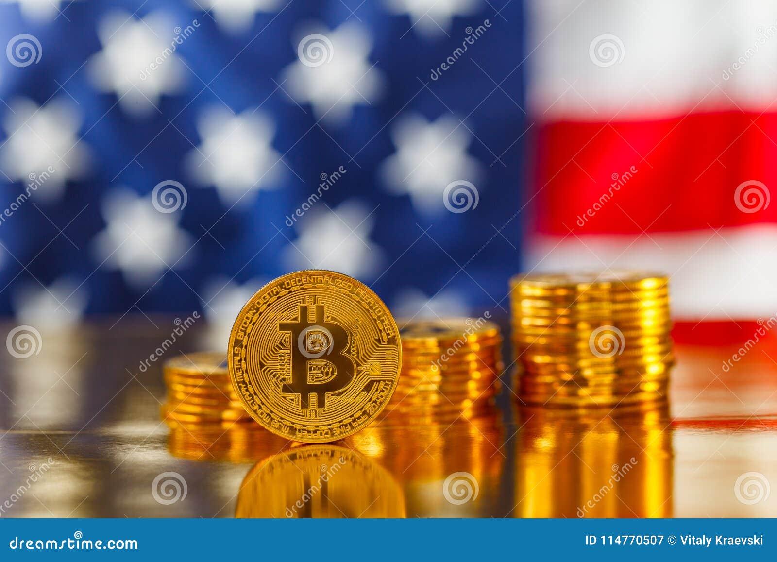 BItcoin devant le drapeau des Etats-Unis