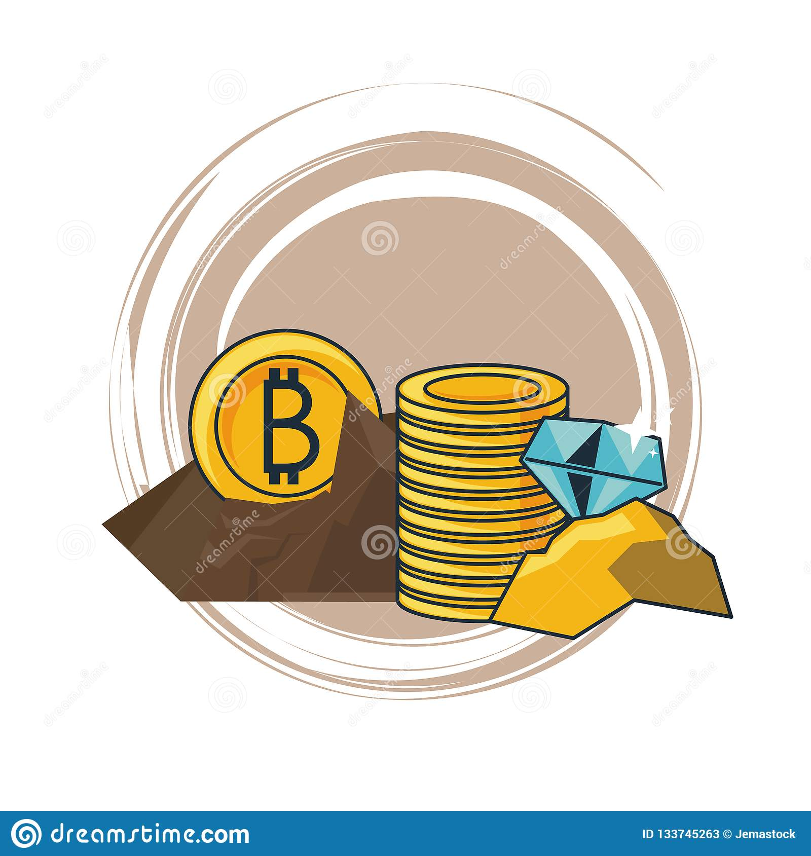 Bitcoin And Diamonds Mining Stock Vector - Illustration of ...