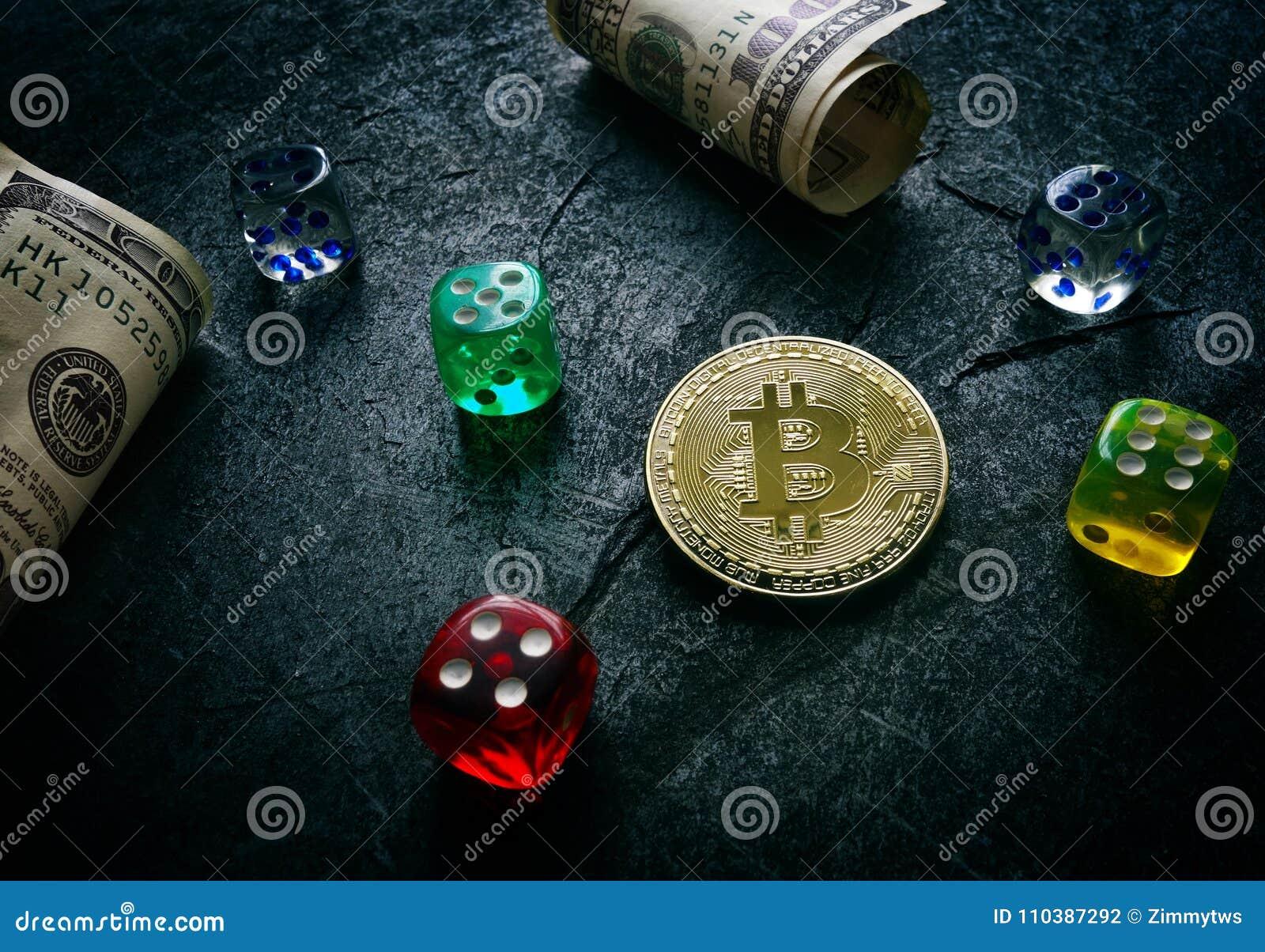 Bitcoin dice and money stock photo  Image of gamble - 110387292