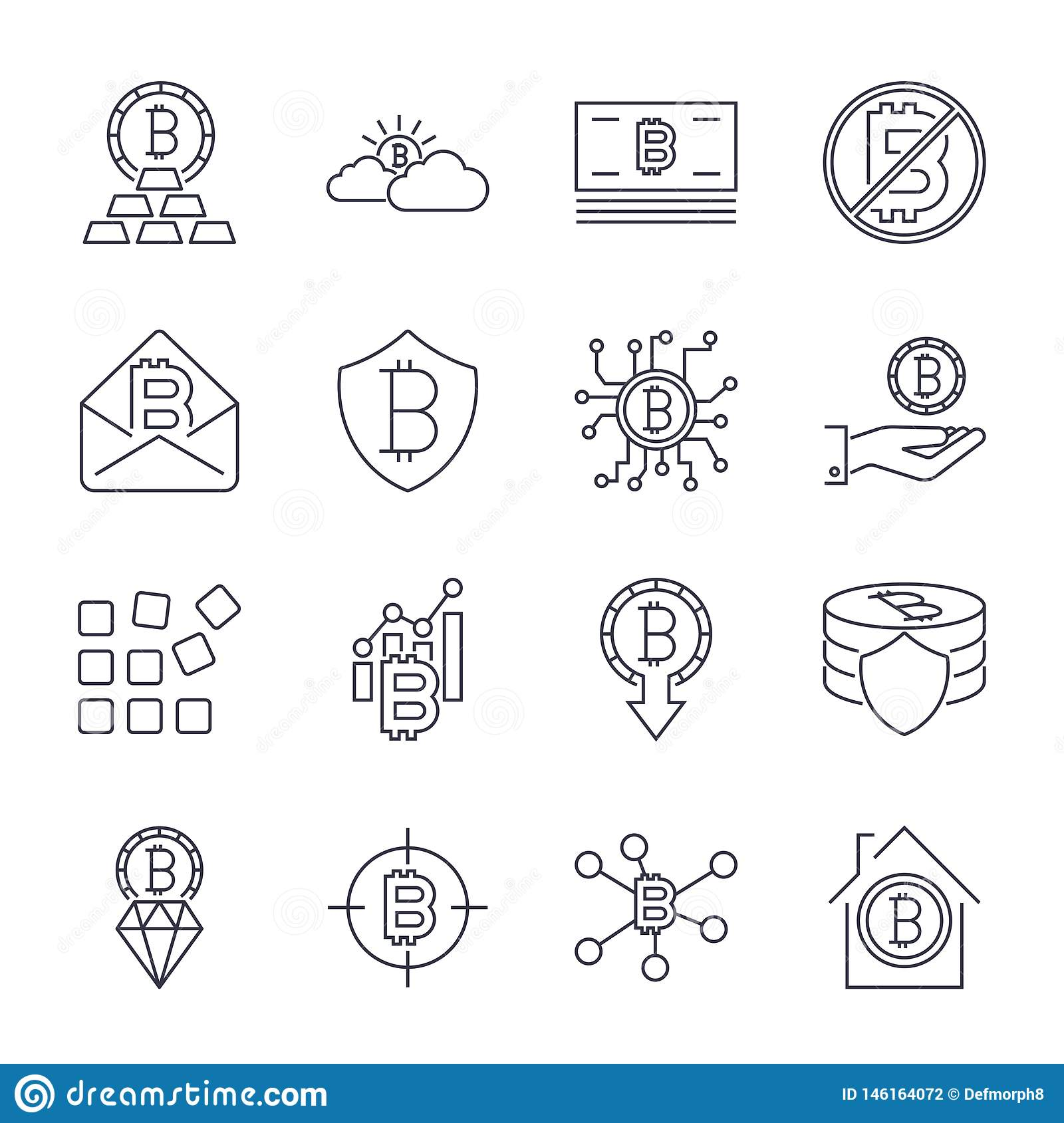 Bitcoin different icons set for internet money crypto currency symbol and coin image for using in web, apps, programs