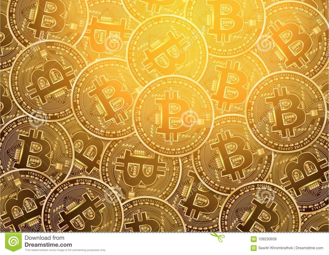 Bitcoin Digital Currency Golden Coin Background Stock Vector
