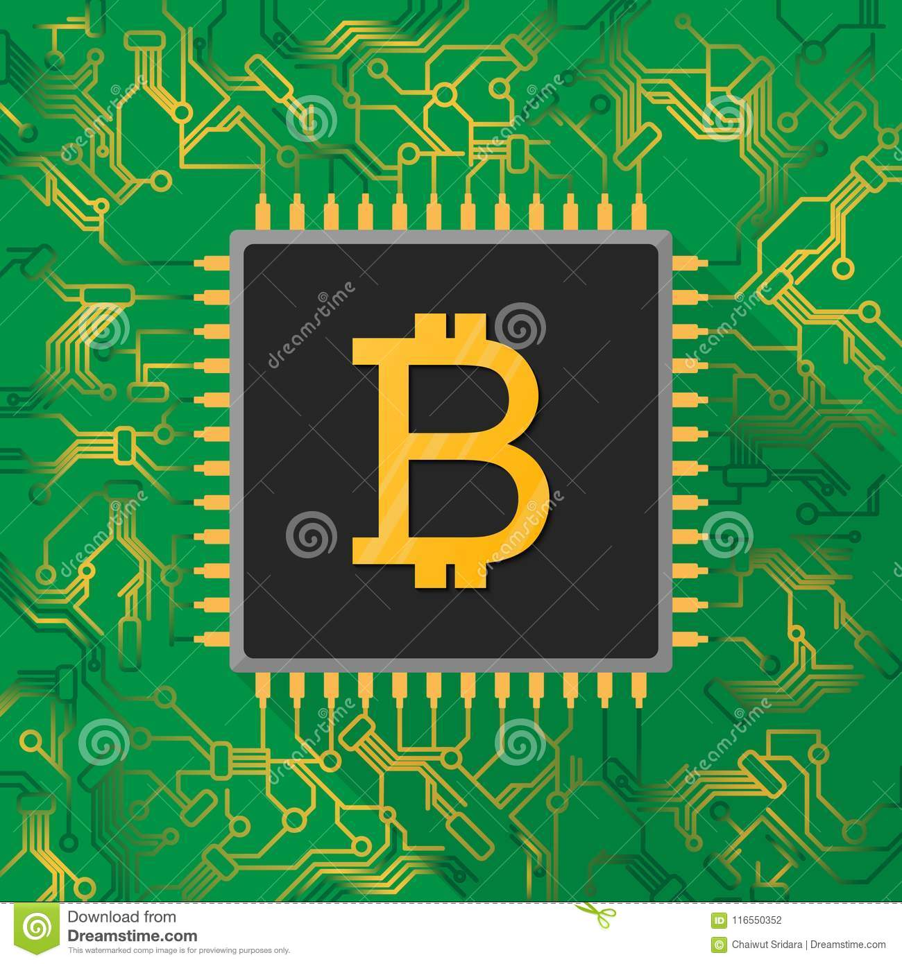 Bitcoin Digital Currency Sign On Microchip Processor With Gold L