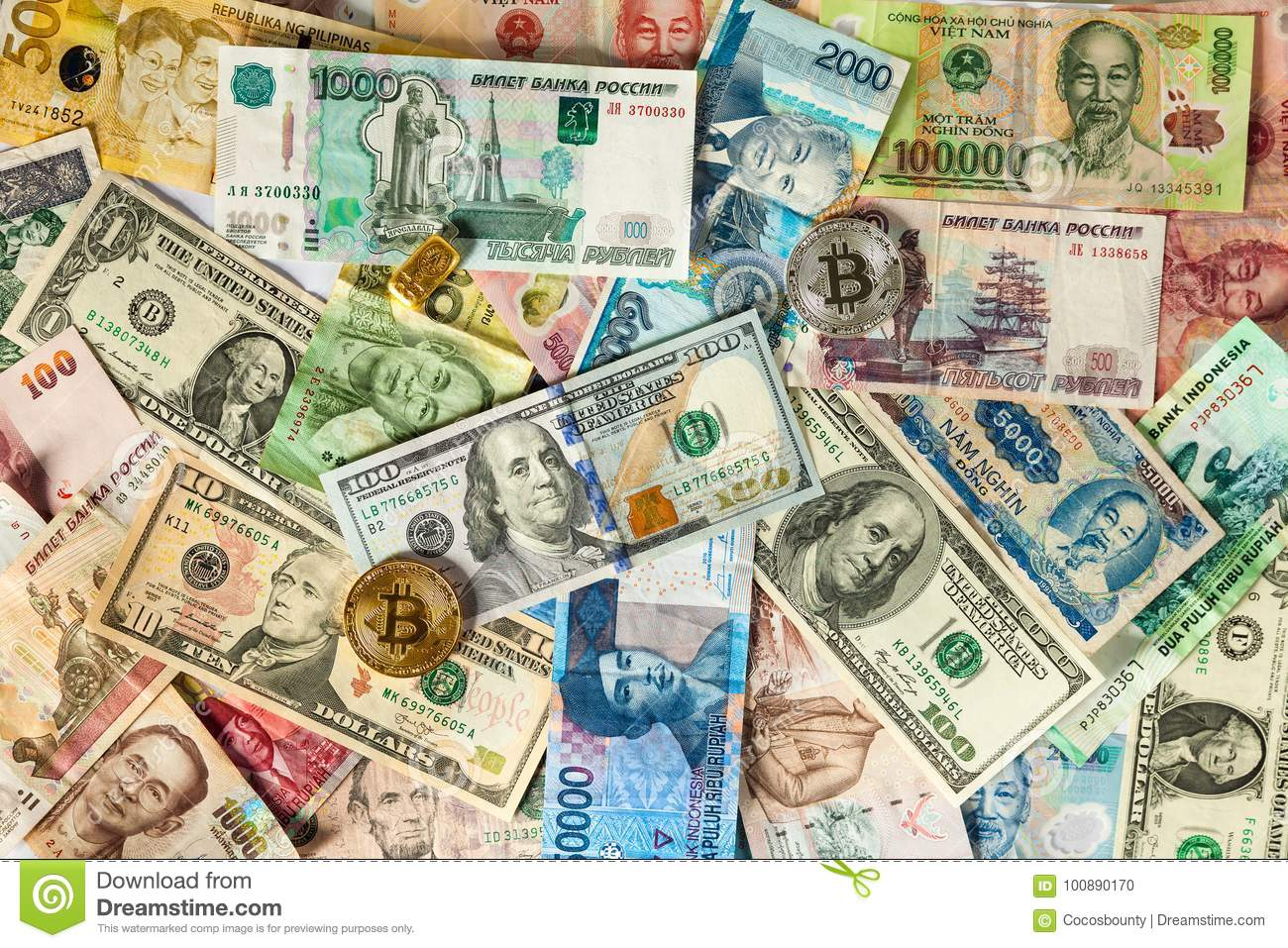 Bitcoin, Dollar Bills Nd Banknotes Of Other Currencies Of Different Countries Stock Photo ...
