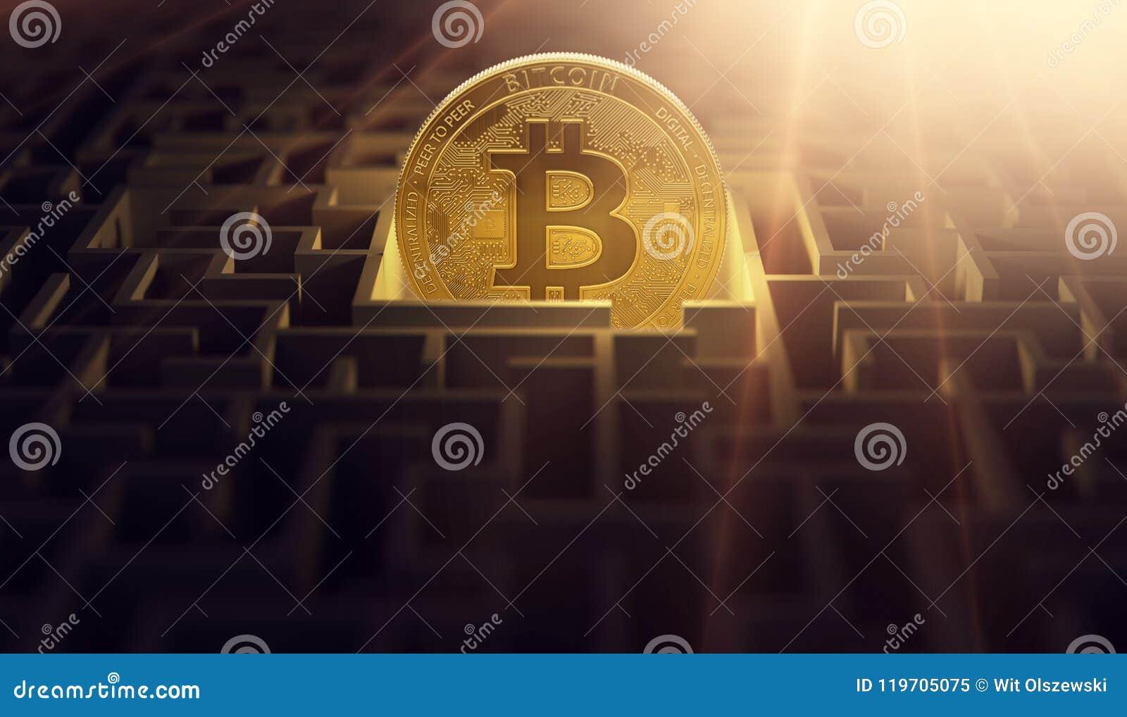 Bitcoin dorato nel punto centrale di labirinto Bitcoin come soluzione per i problemi finanziari rappresentazione 3d