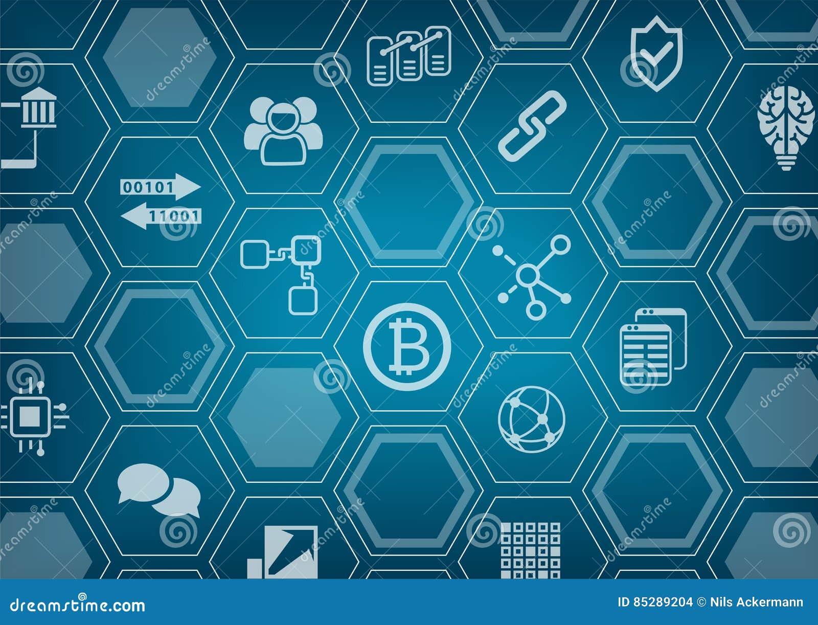 Bitcoin e fondo blu e grigio del blockchain con l orizzonte della città e la sovrapposizione vaghi del poligono