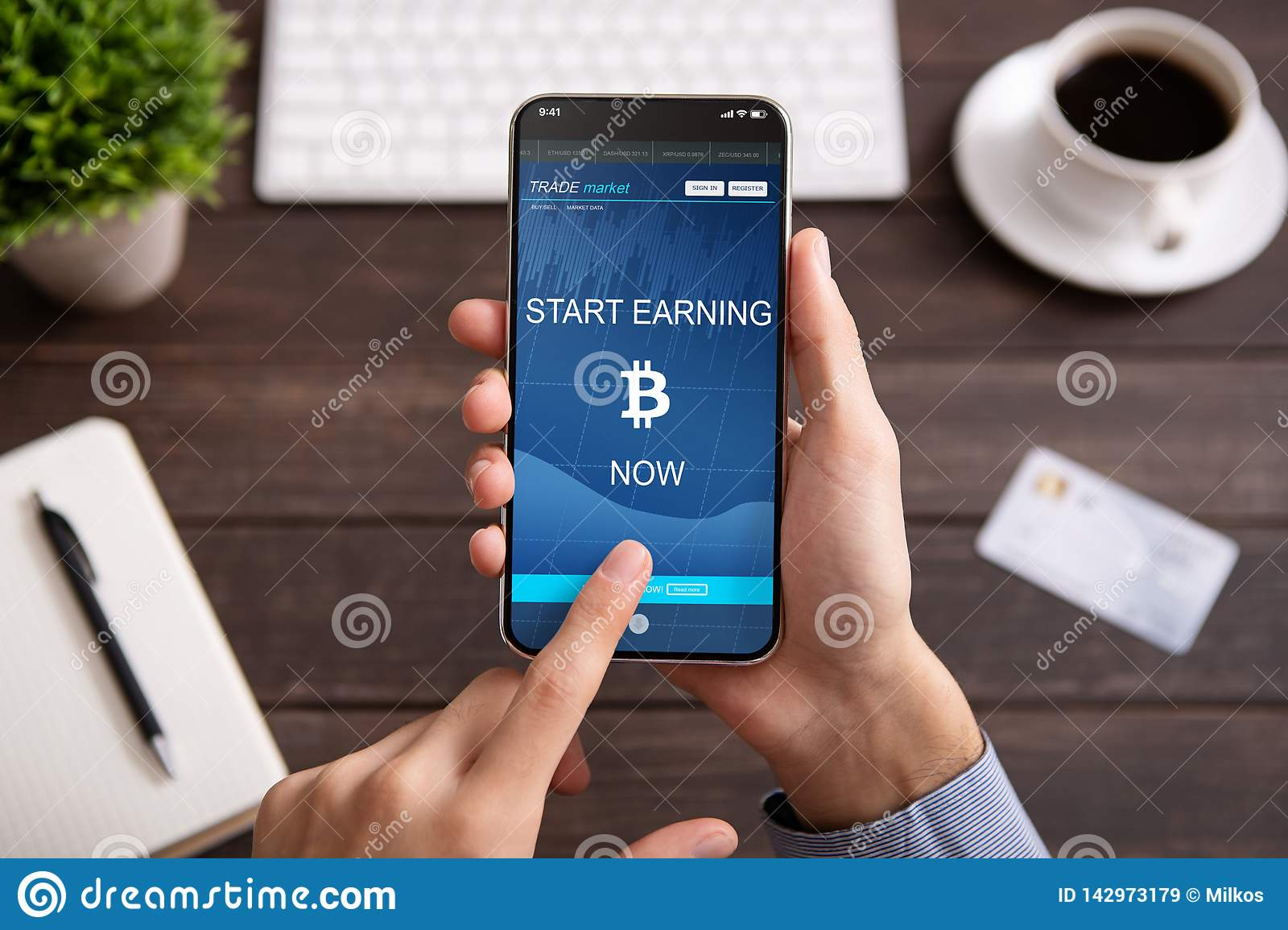 Bitcoin Earning Application On Smartphone Screen Isolated Stock Image - Image of gain, bank ...