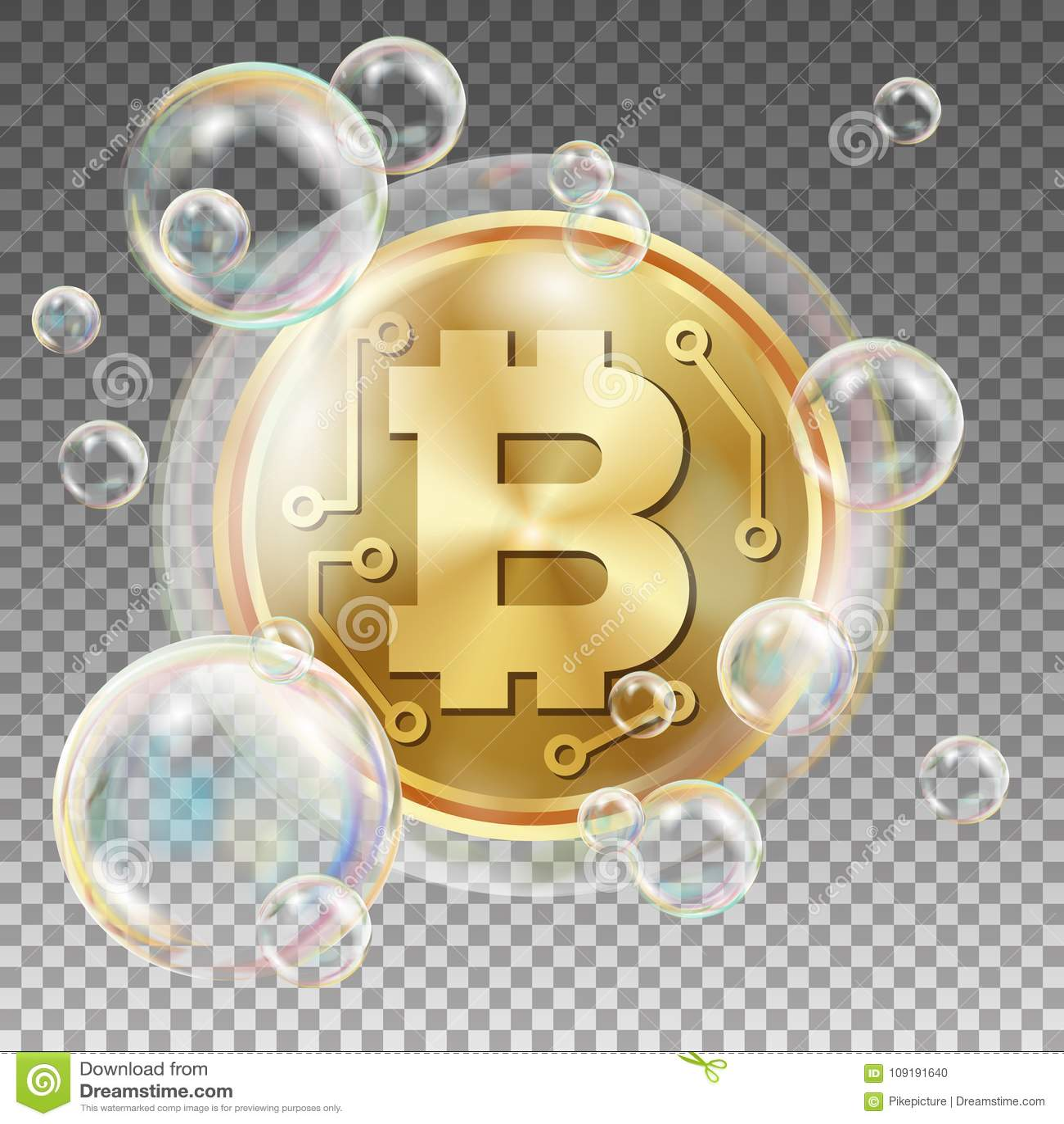 Bitcoin en vector de la burbuja de jabón Riesgo de inversión Hundimiento de la moneda Crypto Caídas de precios de Bitcoin Dinero