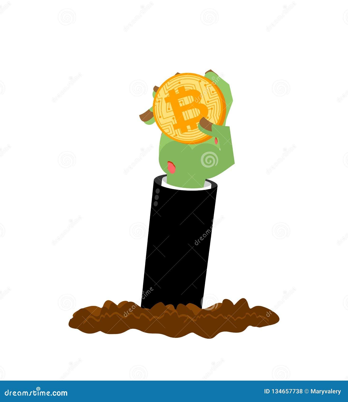 Bitcoin en zombiehand Dode Cryptocurrency Van laatste krachten Dalingscursussen