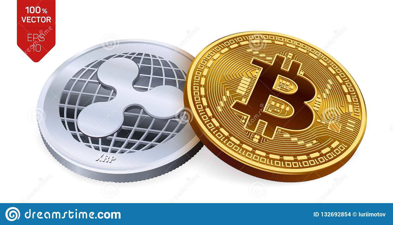 Bitcoin et ondulation pièces de monnaie 3D physiques isométriques Devise de Digital Cryptocurrency Pièce en argent avec le symbol