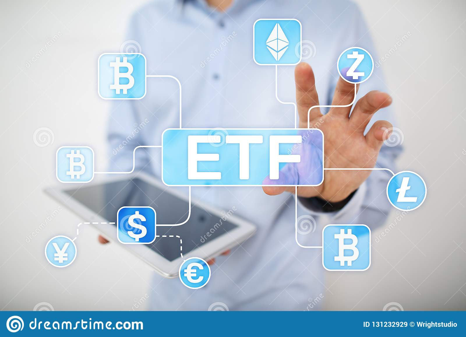 Bitcoin ETF 交换在虚屏上的被换的资金和cryptocurrency概念