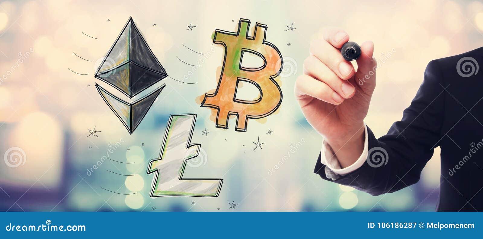 Bitcoin, Ethereum en Litecoin met zakenman