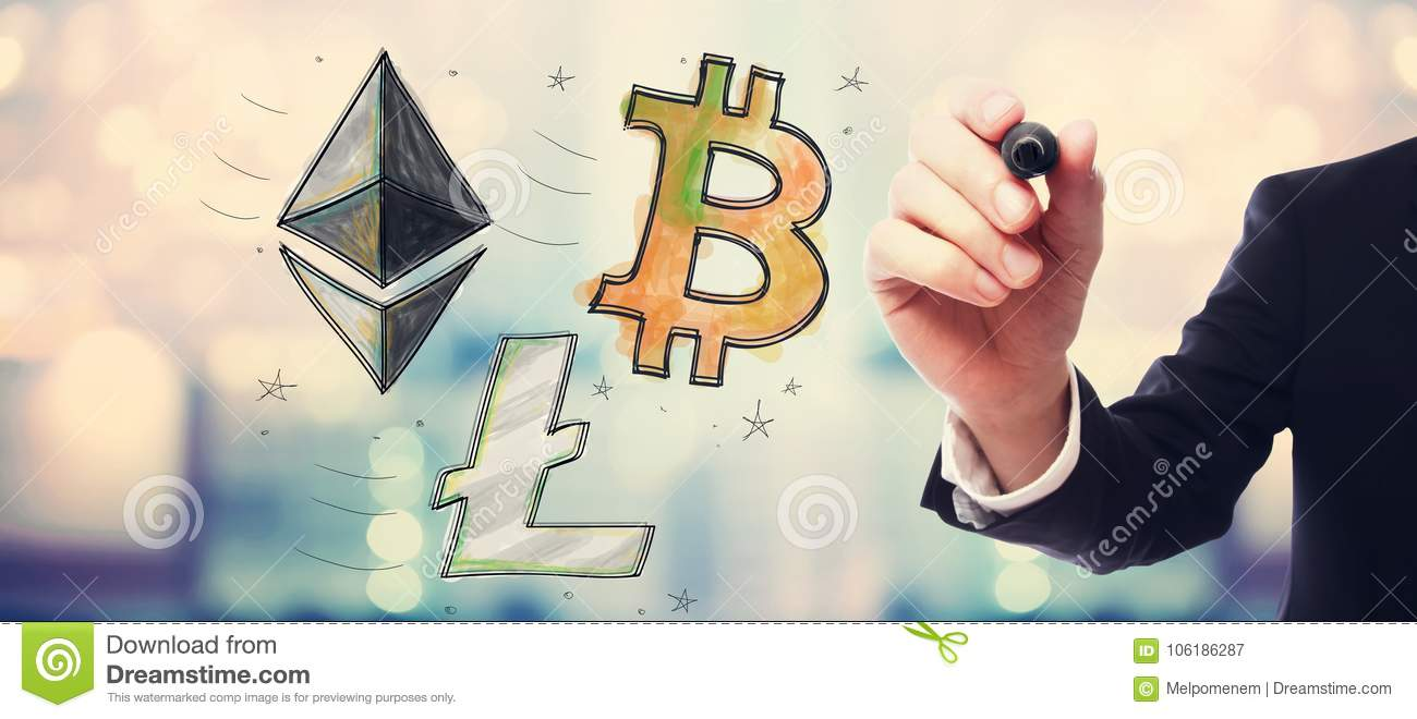 Bitcoin ethereum and litecoin with businessman stock image royalty free stock photo buycottarizona Choice Image