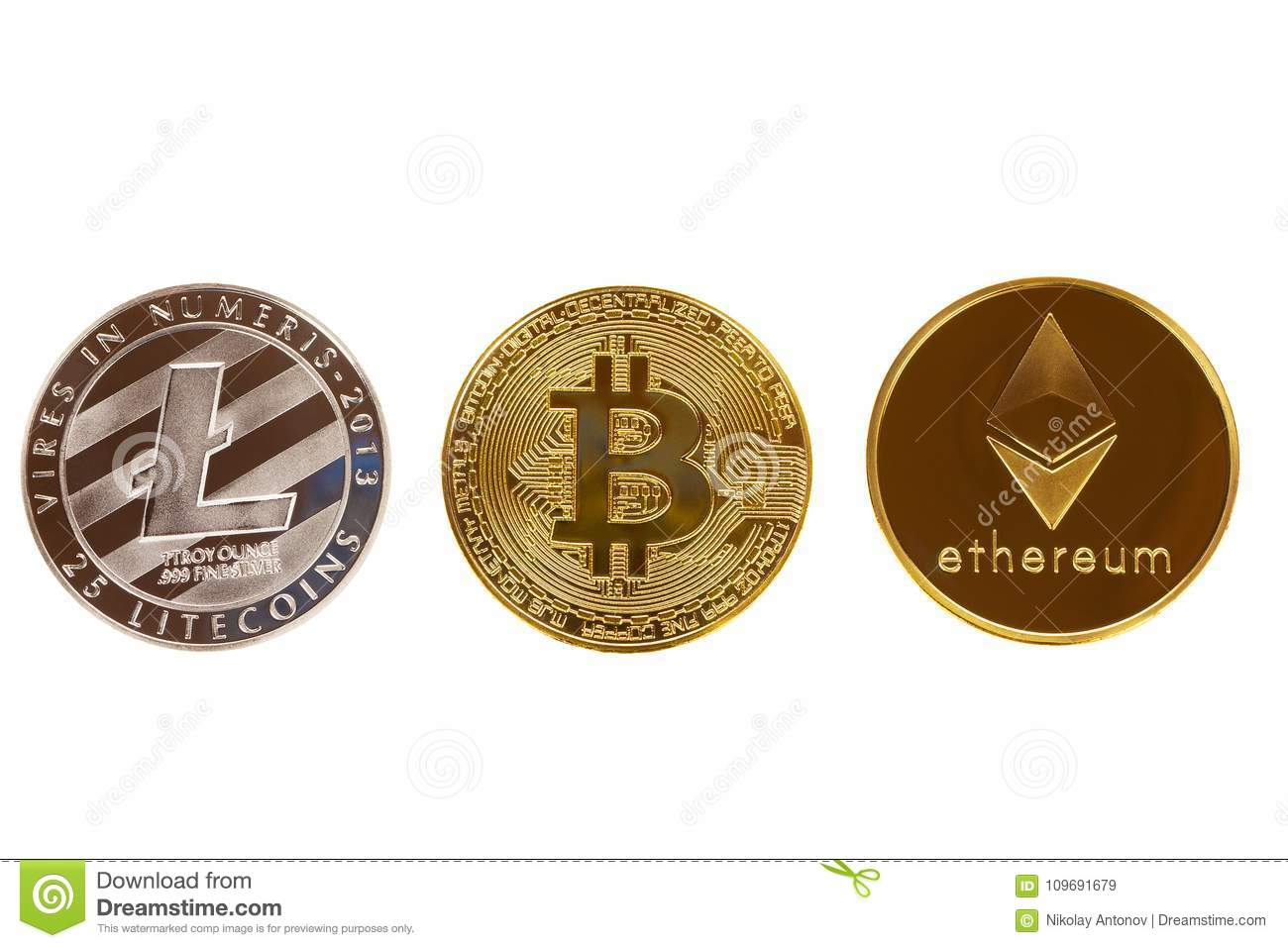 Bitcoin, ethereum and litecoin coins isolated on white background. Crypto currency - electronic virtual money for web banking and