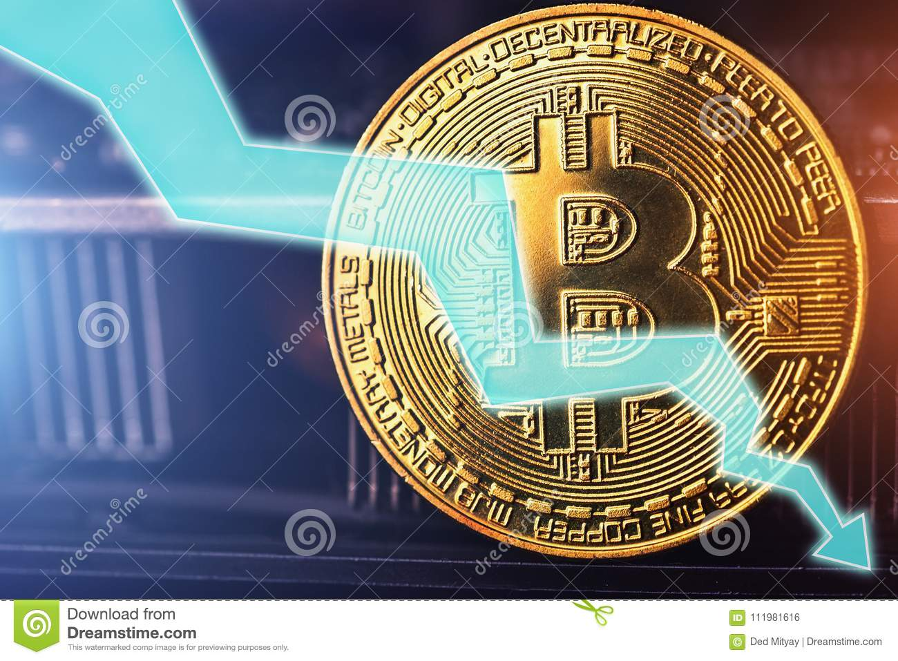 Bitcoin fall down golden bitcoin coin symbol of crypto currency royalty free stock photo biocorpaavc Choice Image