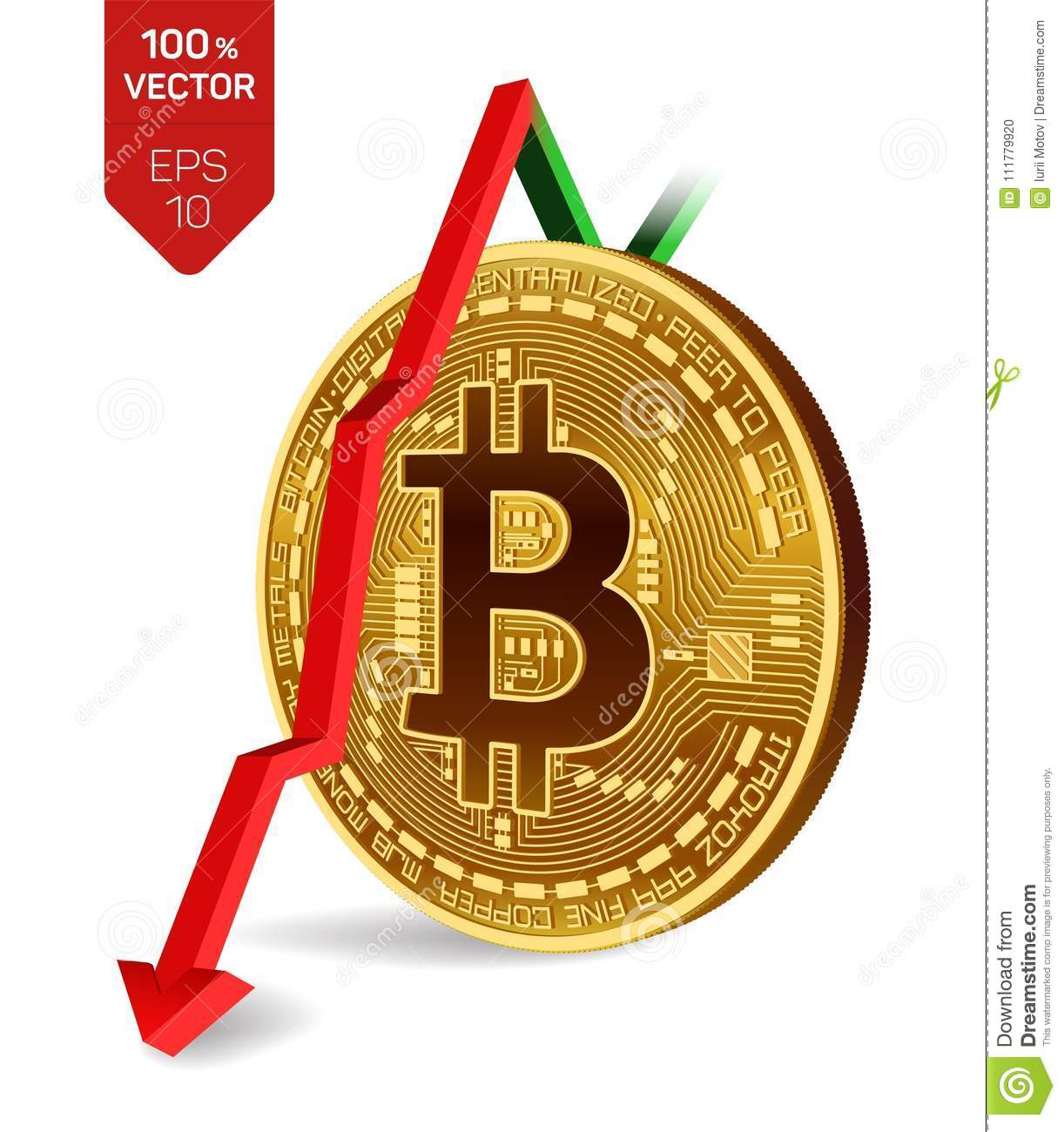 Bitcoin. Fall. Red arrow down. Bitcoin index rating go down on exchange market. Crypto currency. 3D isometric Physical Golden coin
