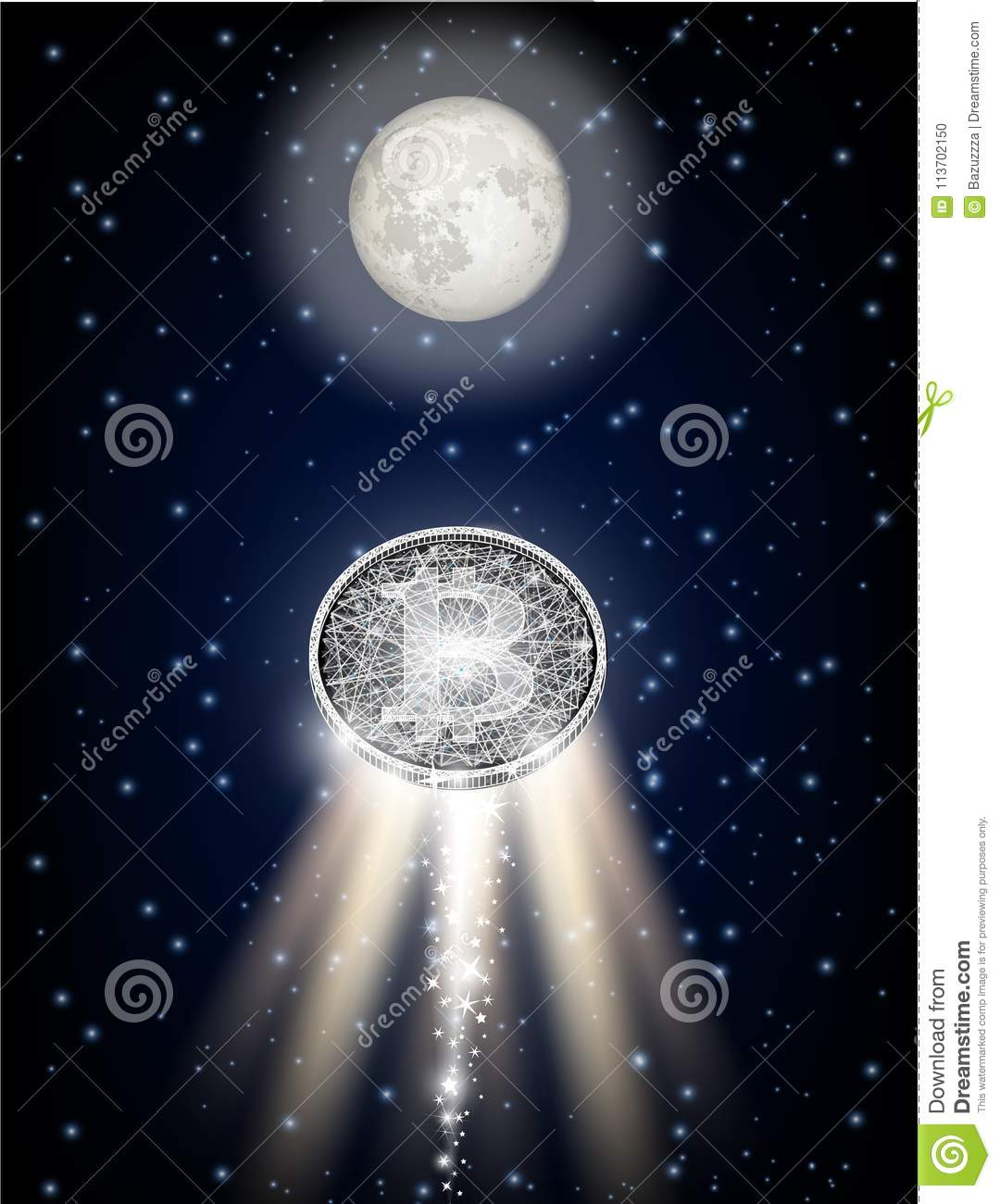 Bitcoin flying to the moon like space rocket vector illustration
