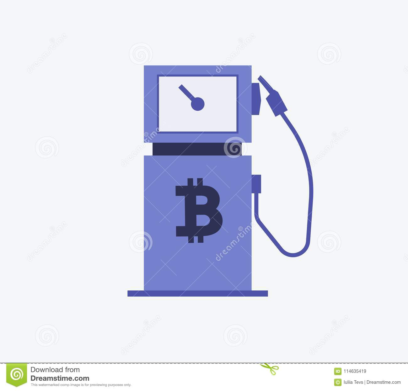 Bitcoin Gas Station Symbol Vector Illustration Style Is Flat Iconic