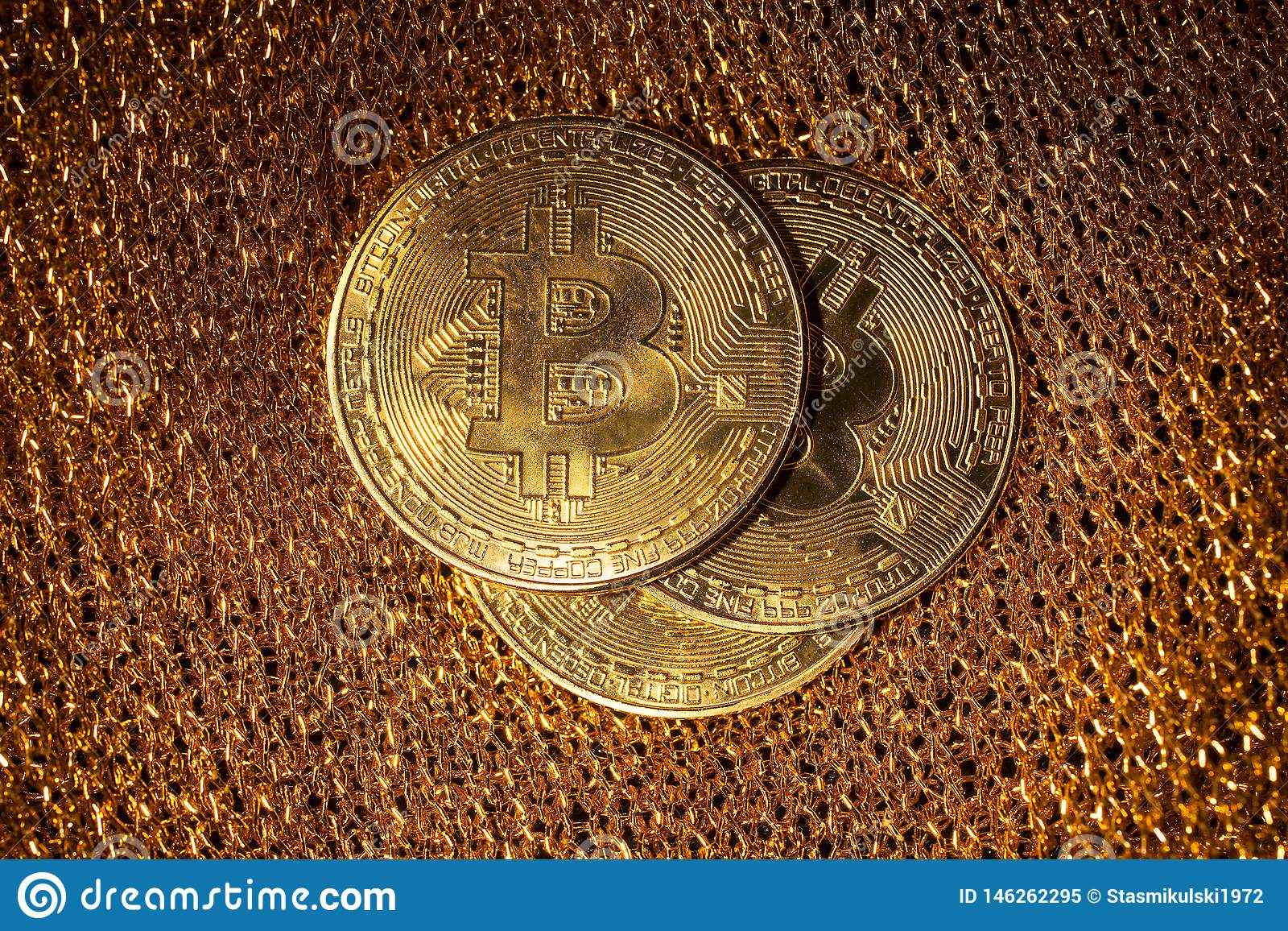 Bitcoin on a gold background