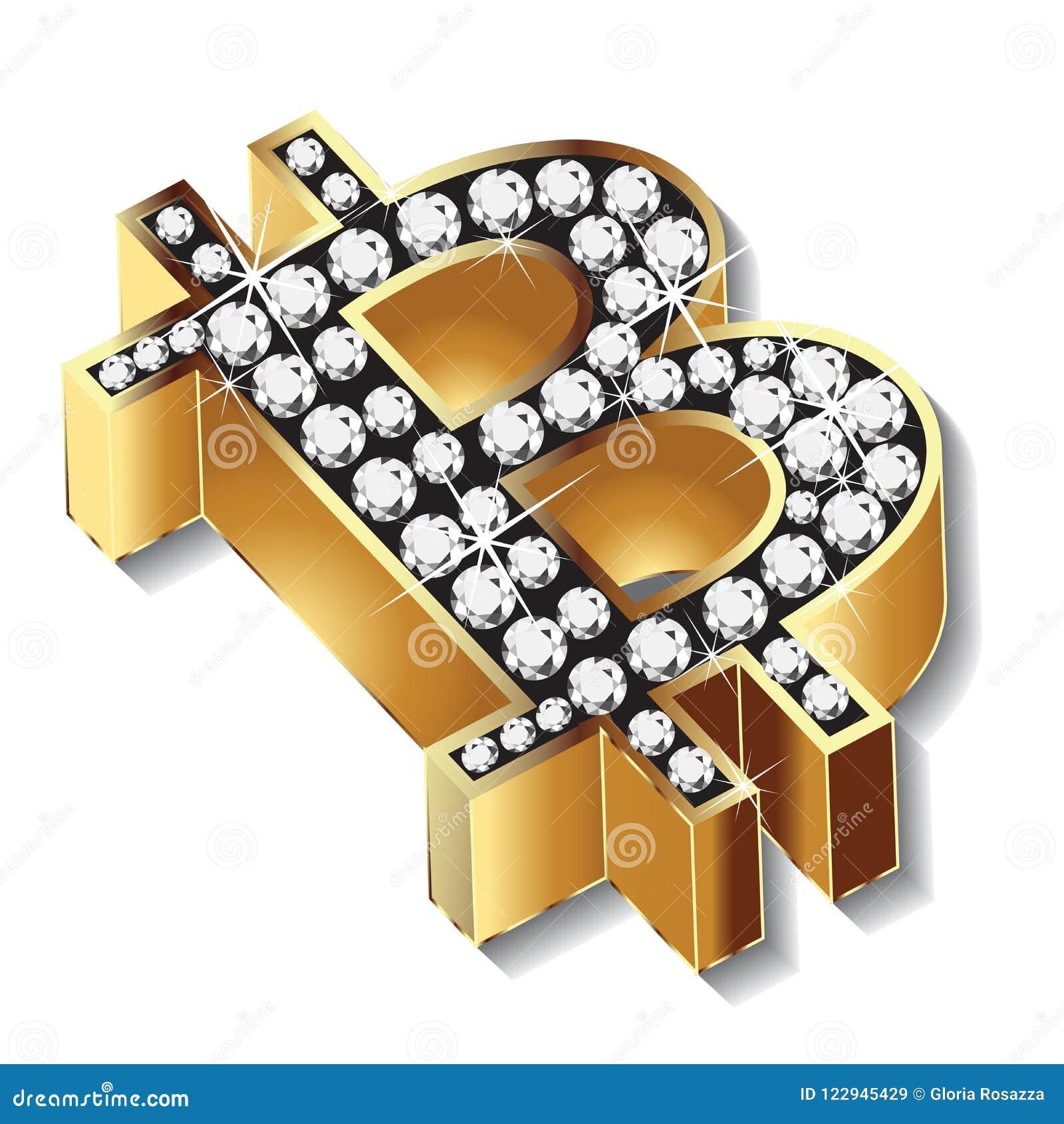 Bitcoin Gold Bling Bling Diamonds Symbol Icon Logo Vector